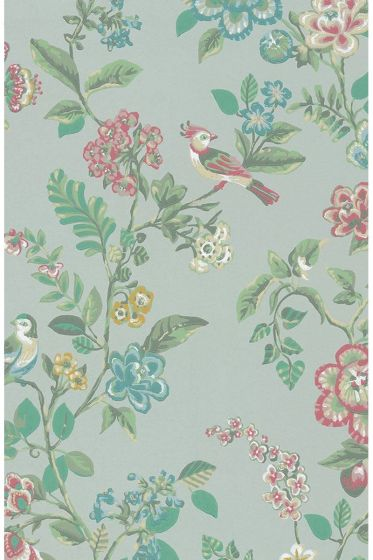 Botanical Print Tapete hellgrün