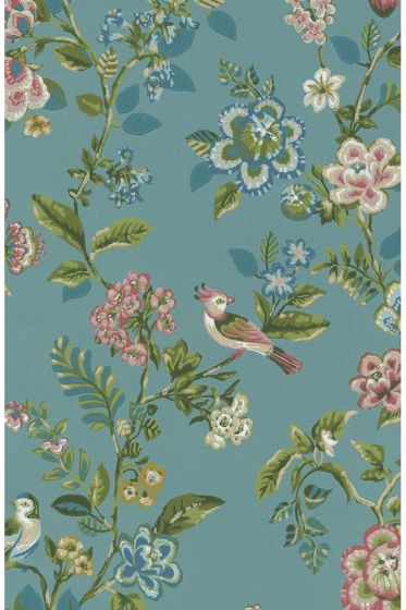 Botanical Print wallpaper sea blue
