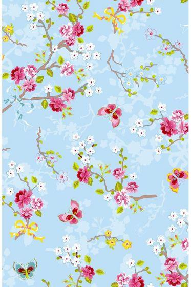 Chinese Rose behang lichtblauw
