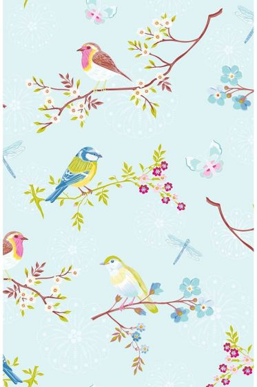 Early Bird wallpaper light blue