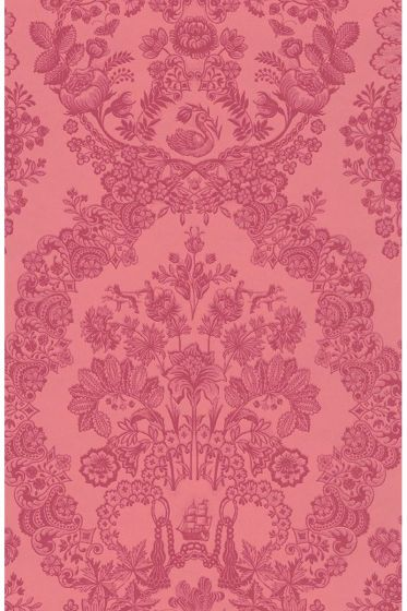Lacy Dutch wallpaper red pink