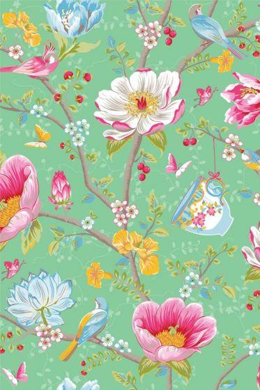 Chinese Garden behang groen
