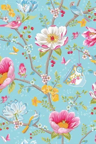 Chinese Garden wallpaper light blue