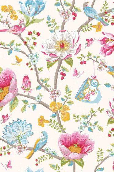 Chinese Garden wallpaper white