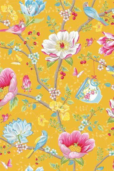 Chinese Garden behang geel