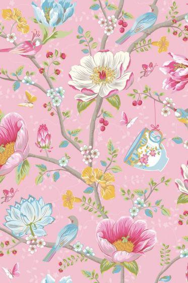 Chinese Garden Tapete rosa