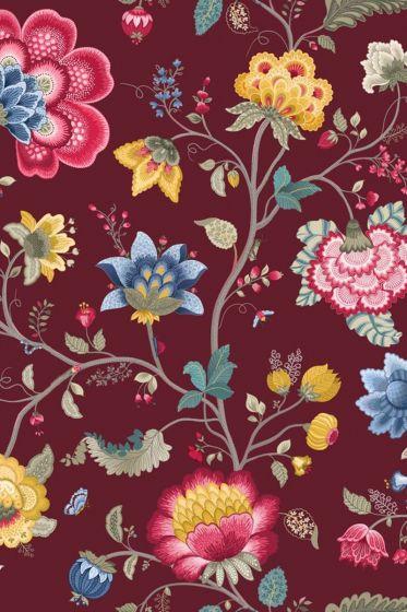Floral Fantasy wallpaper burgundy