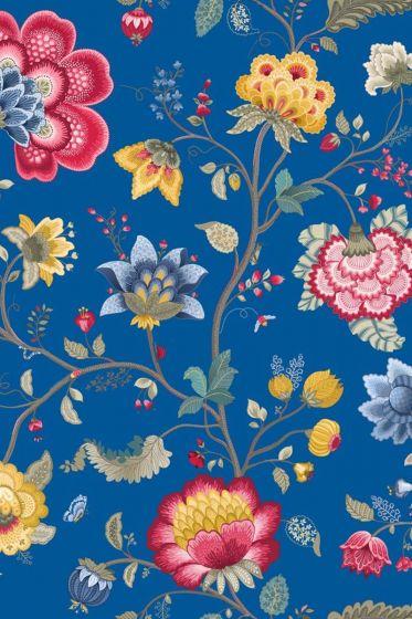 Floral Fantasy wallpaper dark blue