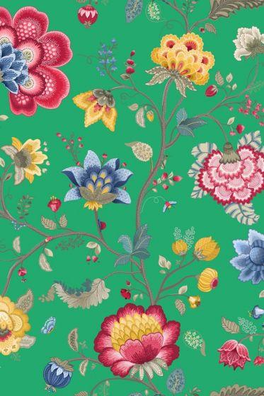 Floral Fantasy wallpaper green