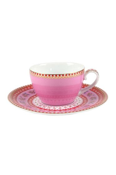 Floral espresso cup & saucer pink