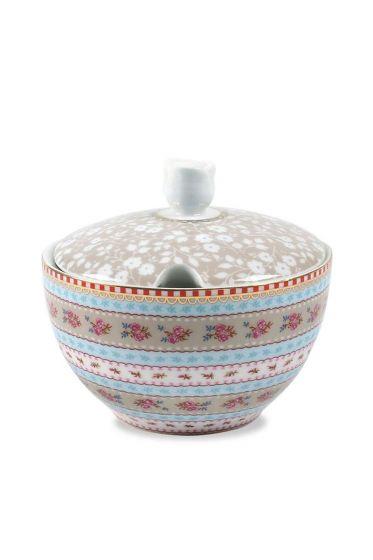 Floral sugar bowl khaki