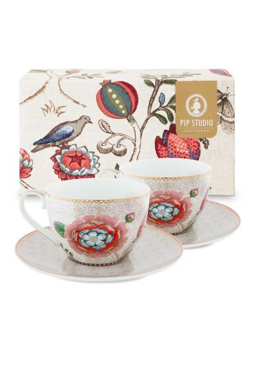 Spring to Life Set 2 Cappuccino Cup & Saucer Off White