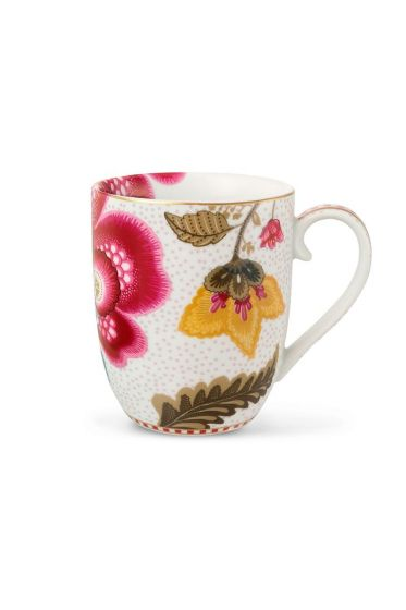 Small Floral Fantasy mug white