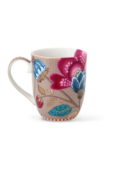 Small Floral Fantasy mug khaki