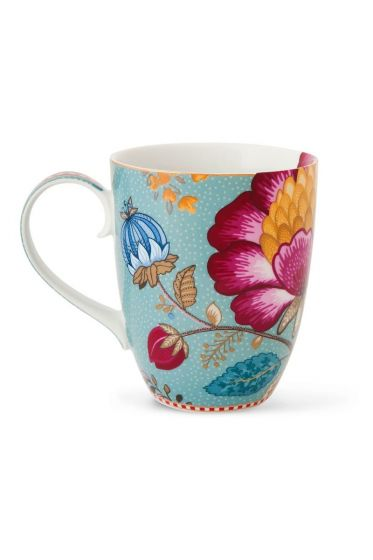 Big Floral Fantasy mug blue