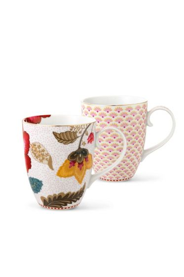 Floral Fantasy Bloomingtales set/2 big mugs white