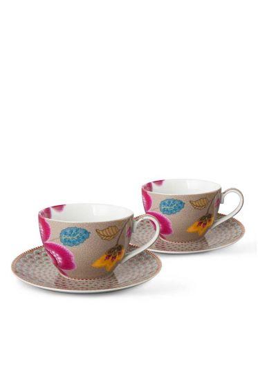 Floral Fantasy set/2 cup & saucer khaki