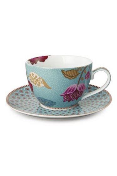 Floral Fantasy cappuccino kop & schotel blauw