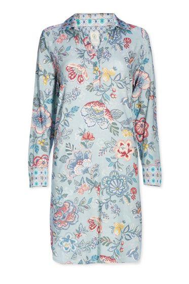 Nightdress polo collar Berry Bird blue