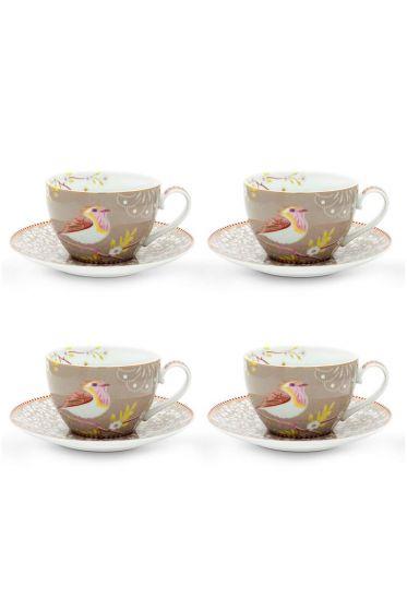 Floral Set/4 Cappuccino Tasse und Untertasse Hummingbird Khaki
