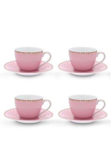 Floral Set/4 Espresso Cups & Saucers Pink