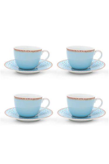 Floral Set/4 Espresso Cups & Saucers Blue