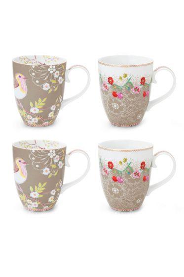 Floral Set/4 große Tassen Khaki