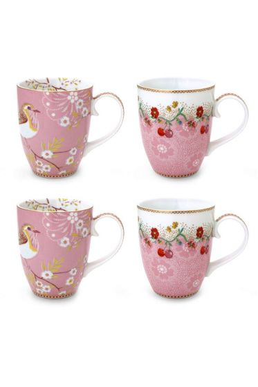 Floral Set/4 Mugs Large Pink