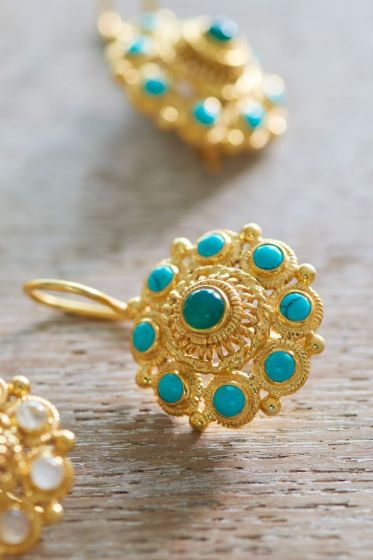 Earrings goldplated Grandma's Astrantia Blue