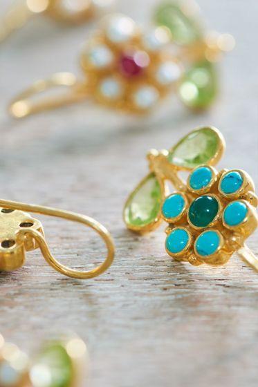 Earrings goldplated Flower of Brighton Blue 10 year
