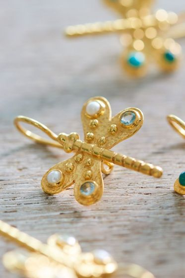 Earrings goldplated Dragonfly Delight White 10 year