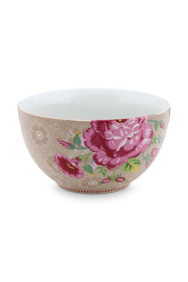 Floral kom Rose 18 cm Khaki