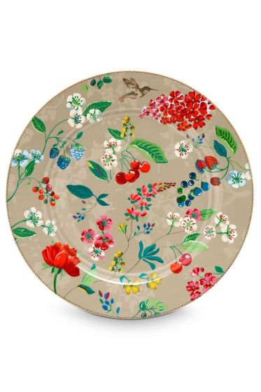Floral onderbord Hummingbirds 32 cm Khaki