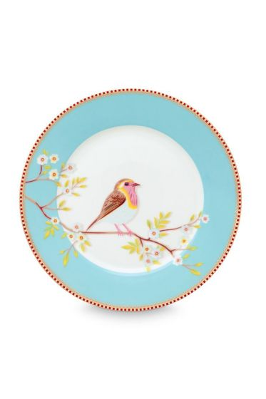 Floral ontbijtbord Early Bird 21 cm Blauw