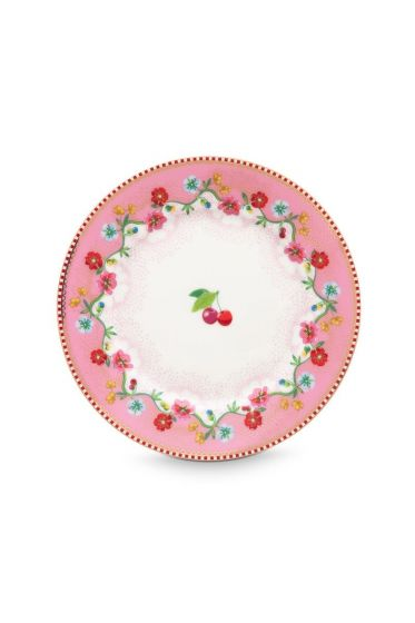 Floral Plate Cherry 17 cm Pink