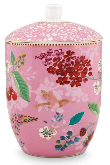 Floral Storage Jar Hummingbirds Pink
