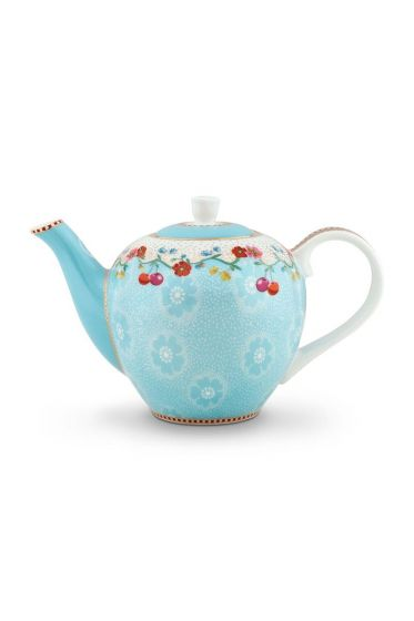 Floral Teapot Small Cherry Blue