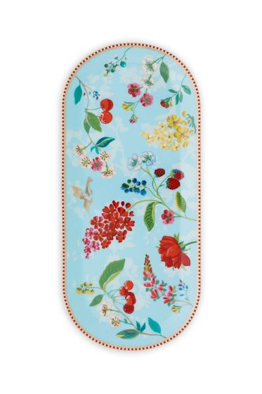 Floral Cake Tray Hummingbirds Blue