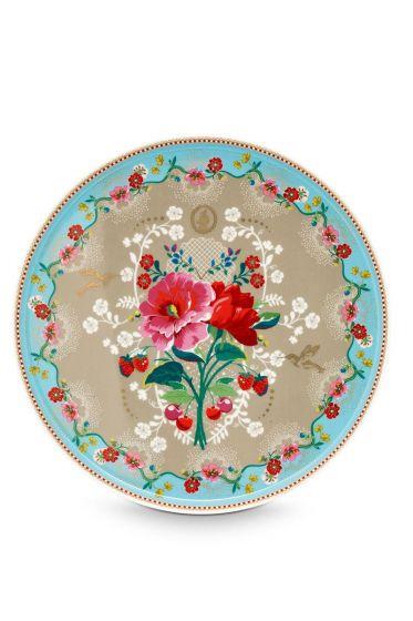 Floral Tortenplatte Rose 30,5 cm Khaki