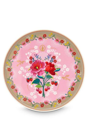 Floral Cake Tray Rose 30.5 cm Pink