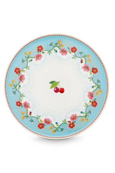 Floral mini Tortenplatte Cherry Pink 21 cm Blau