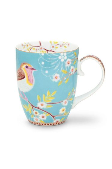 Floral Mug Large Early Bird Blue