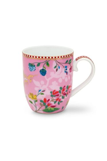 Floral Mug Small Hummingbirds Pink