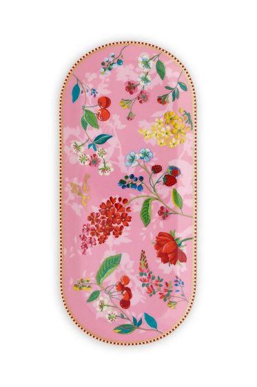 Floral ovale Tortenplatte Hummingbirds Rosa