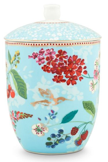 Floral Storage Jar Hummingbirds Blue