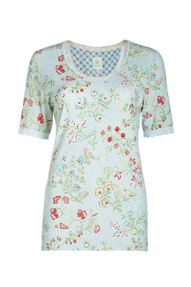 Lace T-shirt floral print blue