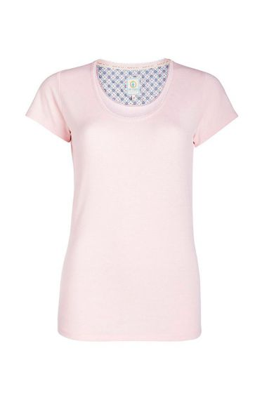Round neck T-shirt Stripers pink