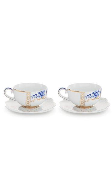 Royal White Set/2 Espresso Cups & Saucers