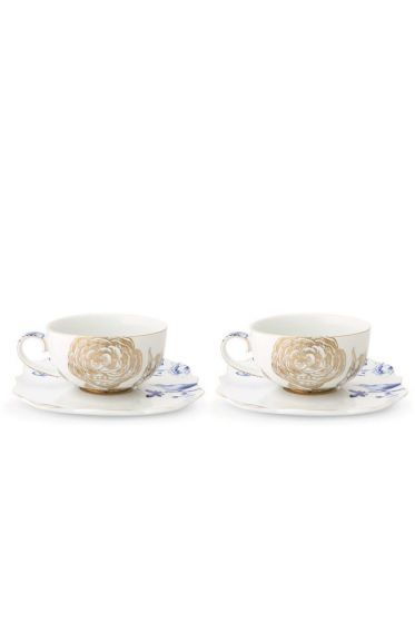 Royal White Set/2 Tea Cups & Saucers