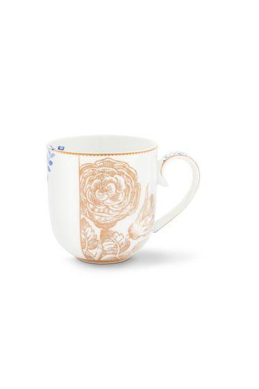 Royal White Golden Flower Mug Small